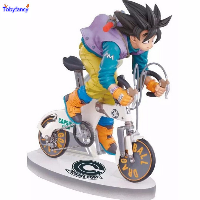 ФОТО Tobyfancy Anime Figurine Dragon Ball Z Figuarts DBZ Son Goku Figures REAL MCCOY ON BICYCLE DESKTOP STATUE PVC Action Figure