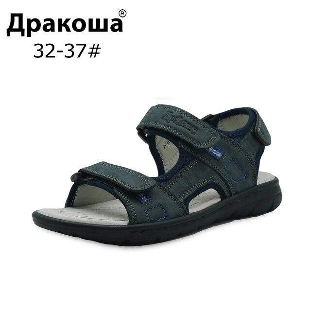 Apakowa бренд Eur 32-37 новая большая детская летняя обувь из воловьей кожи Натуральная кожа пляжные сандалии для мальчиков плоская ортопедическая детская обувь