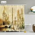 Antique Landscape Eiffel Tower France Vintage Paris Decor Shower Curtain Set Beige Gray Brown