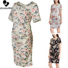 Chivry 2019 Fashion Women Maternity Dress Short Sleeve O-neck Floral Print Pregnancy Dress Pregnant Women Dresses Vestidos