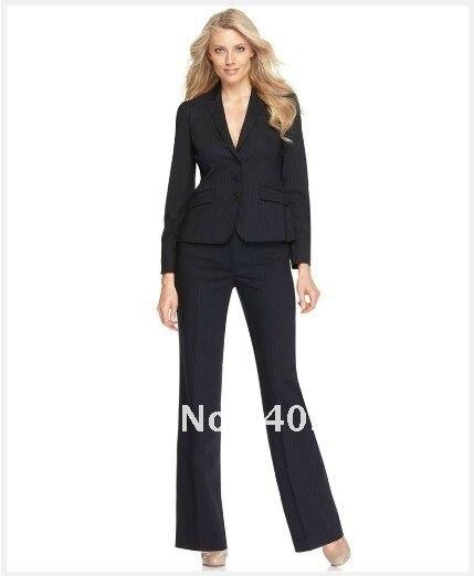 Suit Women Suit Black With Medium Stripes Suit Long Sleeve Jacket & Bootcut Trousers Custom Women Suit 681