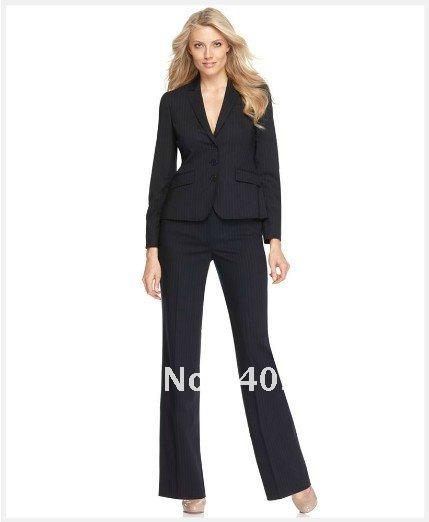 Suit Women Suit Black With Medium Stripes Suit Long Sleeve Jacket ...