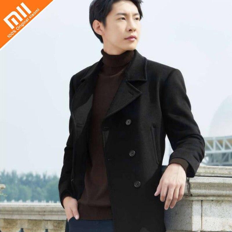 D'origine xiaomi mijia hommes de pur laine Britannique vent manteau court 100% laine anti-rides chaud nouvelle mode sauvage gentleman coupe-vent