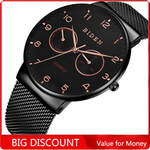 BIDEN Men Top Brand Luxury Men Watch Mesh Steel Clock Men Watches Relogio Masculino Horloges Mannen Erkek Saat