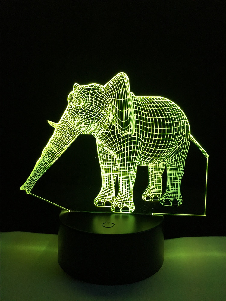2017 3D Thailand Elephant USB Illusion LED Animal Lamp Night Light Table Colors Change Bedroom Birthday Gift Children Kids Toys