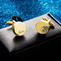 2pcs wedding favor birthday gift groom Father's Day Men's cufflinks Custom logo cuff links Laser engrave name gold Sleeve nail