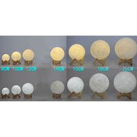 High Quality 3D Print Moon Lamp 2 Color Change Touch Switch Bedroom Bookcase Night Light Home