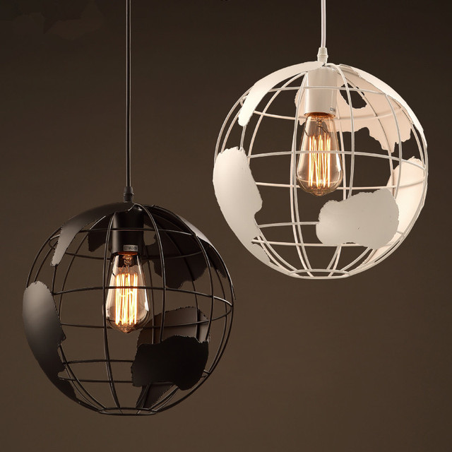 Vintage Modern Metal Globe Map Pendant Light Mini Iron Ball Hanging Lamp Fixture For Bar Counter