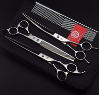 Purple Dragon 8 In Professional Pet Grooming Scissors Sets Scissors For Dog Grooming CUTTING THINNING CURVED