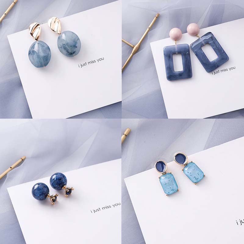 Drop-Earrings Korean Jewelry Irregular-Geometric Acrylic Crazy-Feng Natural-Stone Fashion