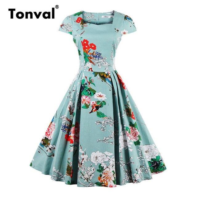 Tonval Green Elegant Floral Vintage 1950s Cotton Dress Rockabilly Women Cap  Sleeve Retro Pleated Summer Dresses b6e1607c5403