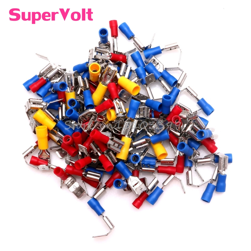 100Pcs Male/Female Piggyback Insulated Spade Crimp Terminals 10-22AWG Connectors #G205M# Best Quality automotive connectors male cont stamped formed 14 16 awg nic 100 pieces