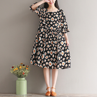 2017 Summer New Style Casual Restore Ancient Ways Seven Part Sleeve Small Daisy Printing Cotton Dress