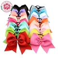 20pcs/lot 8 Inch Large Cheer Bow With Elastic Hair Band Cheerleading Boutique Ribbon Hair Bow Ponytail Hair Holder For Girls 598