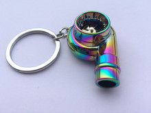 Car metal Key Chain Sound Turbo Key chain Sleeve Bearing Spinning Auto Part Model Turbine Turbo charger Ring Keyfob Key ring