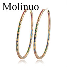 Molinuo 50mm trendy Exaggerated Big Circle Earrings paved rainbow color cz Earrings Personality Hoop Earrings For Women Jewelry pair of trendy solid color circle long earrings for women