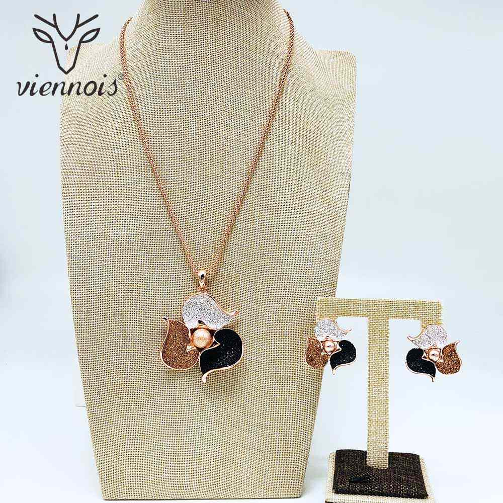Viennois Rose Gold & Gold Color Stud Earrings Rhinestone Pendent Necklace Set For Women Metal Party Jewelry Set