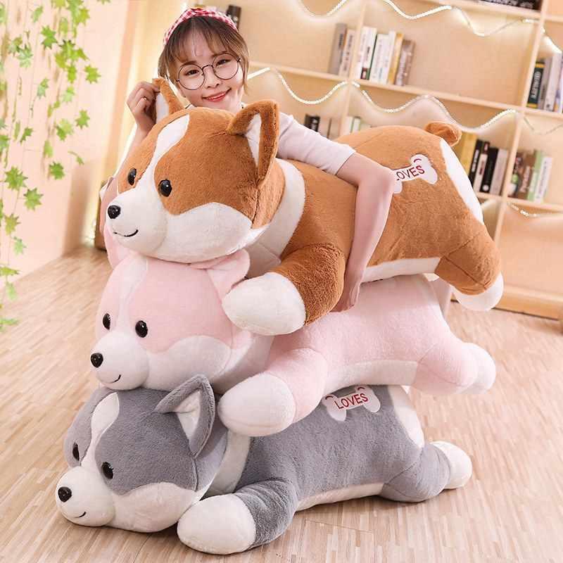 60 см/80 см Милая Толстая корги плюшевая игрушка мягкая мультяшная собака мягкая кукла украшение дома диван подушка ребенок подружка подарок на день рождения