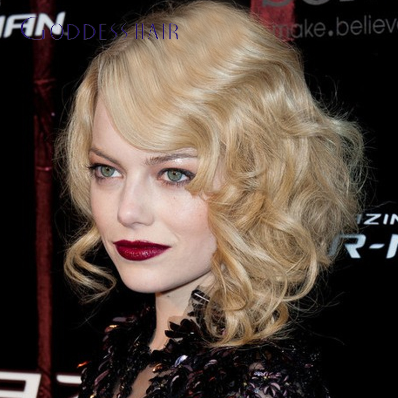 Emma Stone Medium Waves Curly Hairstyles 27 Human Hair Blonde Curly Wigs 16inch Short Blonde Hair Wig For White Women Dhl Free Curly Wig Wigs For White Womenhair Wigs Aliexpress