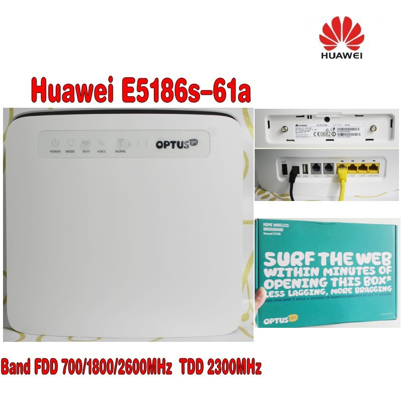 Huawei E5186s-61a LTE FDD 700/1800/2600Mhz TDD2300Mhz Cat6 300Mbps Mobile Router+4G Antenna