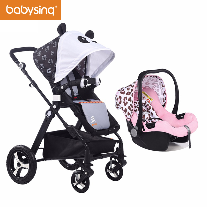 Babysing High Landscape Baby Strollers with Car Seat Travel System Easy Fold Baby Pram and Carriage with Bassinet Fabric Set kitbwkk5000rcp750411 value kit rubbermaid autofoam touch free skin care system rcp750411 and boardwalk premium half fold toilet seat covers bwkk5000