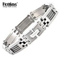 Hottime Fashion Man S Casual Bracelets Bangles Punk Stainless Steel Silver Male Bracelet For Men 10178