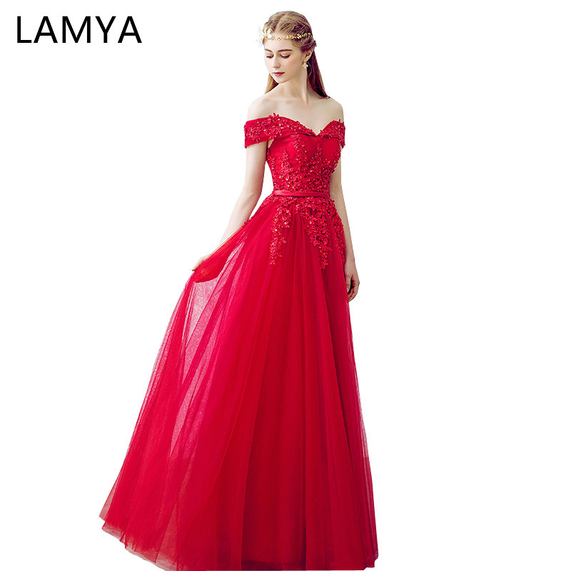 LAMYA Customized Long Prom Dress 2019 Red Lace Off Shoulder Formal Party Evening Gown For Graduation Vestido de Festa Plus Size