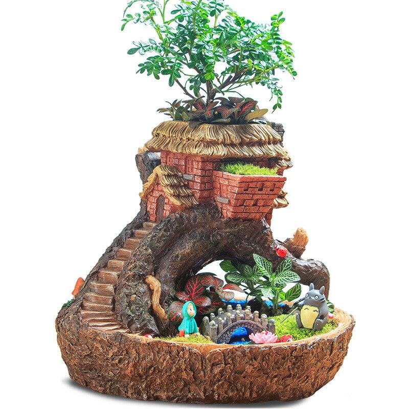 Europe Fée Jardin Miniature Souche Résine Cabane Dans Les Arbres Pot De Fleur Sculpture Succulent Planter Balcon Charnu plantes Pot de Fleurs