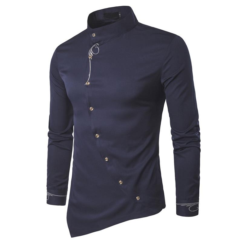 Мода 2017 г. новый мужской рубашки с длинным рукавом Для мужчин S одежда косой кнопку Сорочки выходные для мужчин воротник-стойка Для мужчин Сорочки для жениха