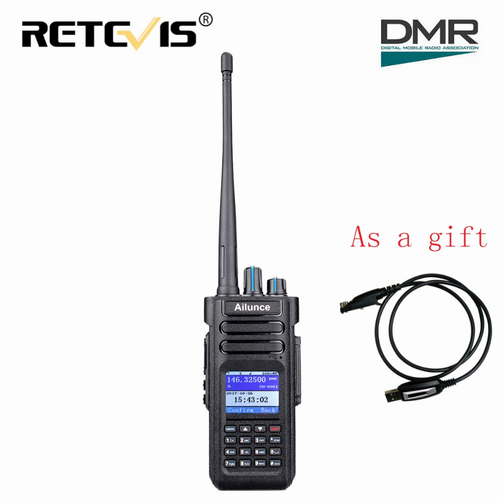Dual Band DMR Ham Radio Retevis Ailunce HD1 GPS Digital Walkie Talkie 10W VHF UHF Ham Amateur Radio Hf Transceiver Program Cable