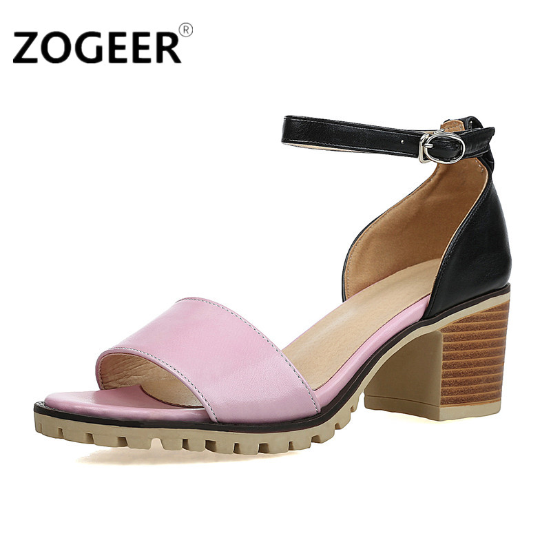 892fe5b32c02 ZOGEER 2019 Hot Women Sandals Plus Size 34 43 Fashion Ankle Strap Shoes  Woman Square Heel Summer Medium Heel Ladies Sandals-in Middle Heels from  Shoes on ...