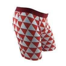 7754e74d9 Único Triângulo Vermelho de Algodão dos homens Sexy Cueca Boxer Perna Longa  Boxer Shorts de Cuecas Plus Size Big Geométrica Quen.
