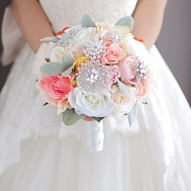coral & ivory artificial flower brooch bouquet wedding bouquet de ...