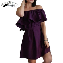 Ruffle Summer Dress Party Elegant Vestidos Dress Female 2018 Slash Neck Dresses For Women Sundress Beach Dress Women Vestido