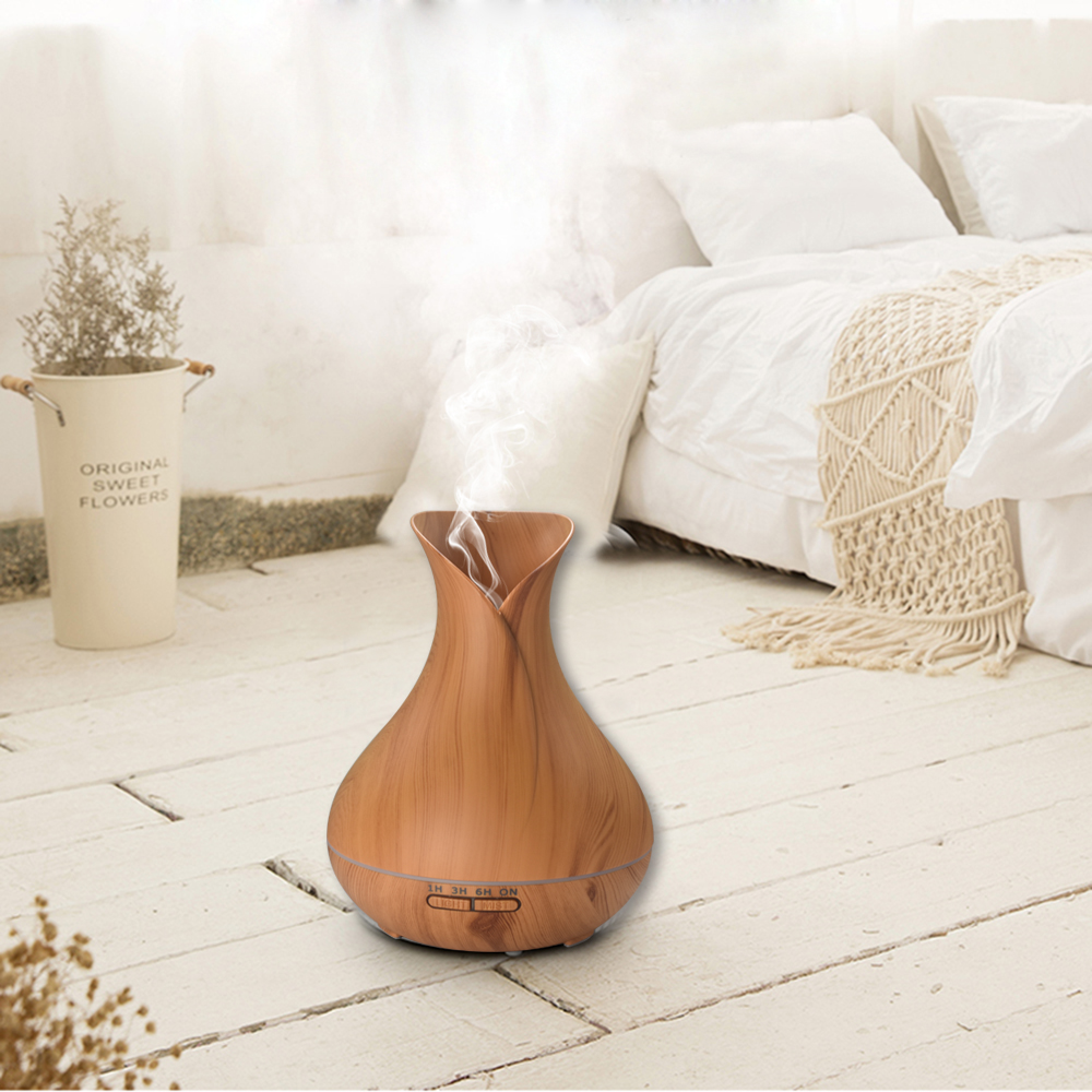 цены New Aroma Essential Oil Diffuser Ultrasonic Air Humidifier with Wood Grain 7 Color Changing LED Lights for Office Home 400ml