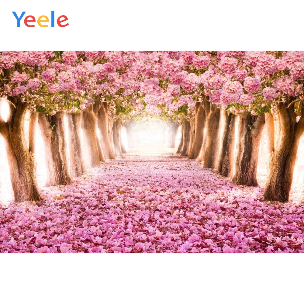 Yeele Wonderland Romantic Flowers Road Personalized Pink Baby Photographic Backdrops Photography Backgrounds For Photo Studio