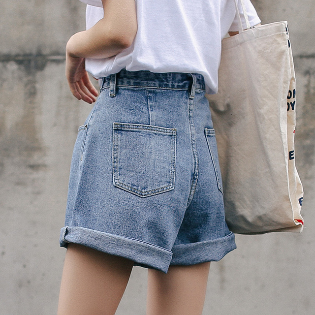 Streetwear High Waist Wide Leg Denim Shorts   4