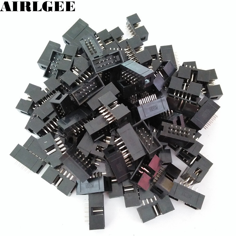 100 Pcs IDC Box Header DC3-10P 10 Way 2.54mm JTAG Socket Connector Black Free shipping dmd chip 1076 6329w 1076 6328w for mitsubishi md360x