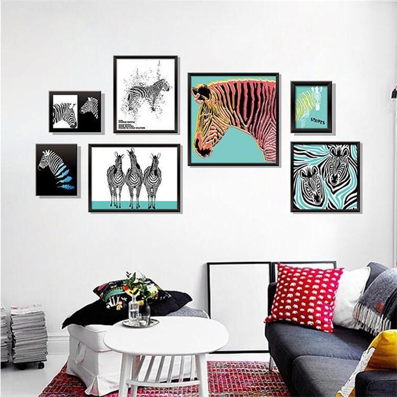 New Nordic Style Zebra Wall Stickers Living Room Sofa TV ...