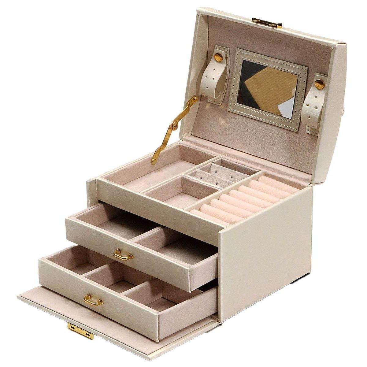Grand emballage de bijoux et vitrine Armoire Dressing coffre avec fermoirs Bracelet anneau organisateur étuis de transport