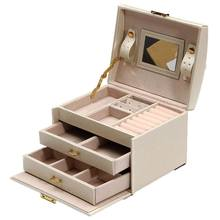Large Jewelry Packaging & Display Box Armoire Dressing Chest with Clasps Bracelet Ring Organiser Carrying Cases(China)