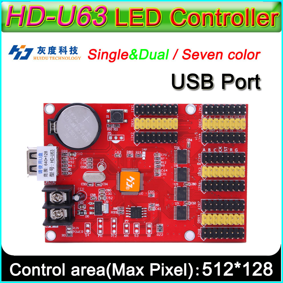 HD -U63 LED Display  Controller, Single&double Color P6 P10 LED Sign Module Control Card,U-Disk To Edit And Updated Programs