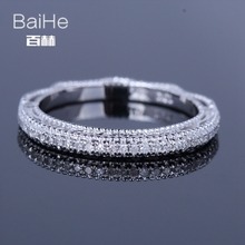 BAIHE Solid 14K White Gold(AU585)0.2CT Certified H/SI Round Out Genuine Natural Diamonds Wedding Women Trendy Fine Jewelry Ring