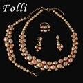2017 Nova Alta Moda Dubai Conjunto de Jóias Rosa/Prata Banhado A Ouro de Casamento Nigeriano Beads Africanos Jóias Define Parure Bijoux Femme