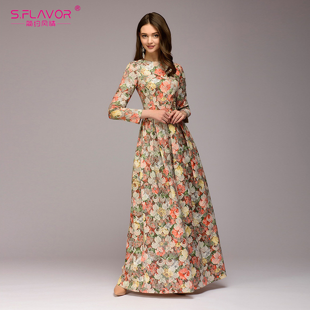 d8829715d2b S.FLAVOR women printing long dress Elegant O-neck long sleeve Bohemian  style Party Dress for Lady women Spring Summer Vestidos