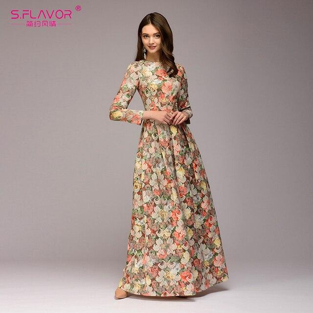 S. вкус женщины печати длинное платье Элегантный О-образным вырезом Длинные рукава в богемном стиле вечерние платье для леди женские весенние летние платья