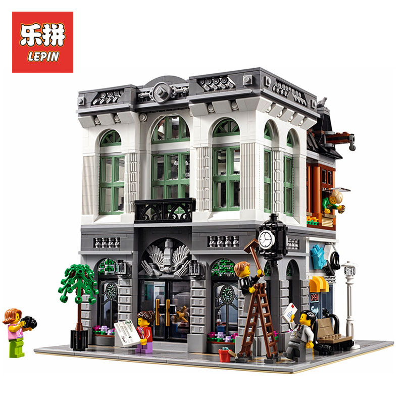 LEPIN 15001 2413Pcs City Street Creator Bank Model Building Kits Blocks Bricks Toy For Boys LegoINGlys 10251 gifts for children lepin city town city square building blocks sets bricks kids model kids toys for children marvel compatible legoe