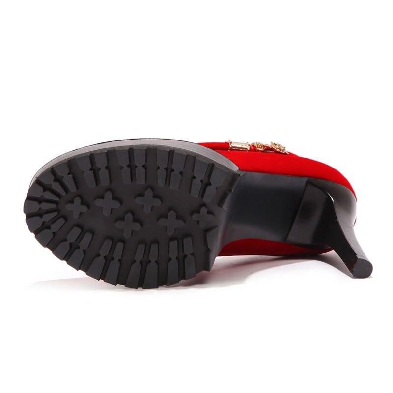 Rond Printemps De Talons automne À Hauts Black Chaussures Classique Métal Pompes Femmes Chaîne red Élégant Base Mariage En Fanyuan Bout Partie 7T5qx