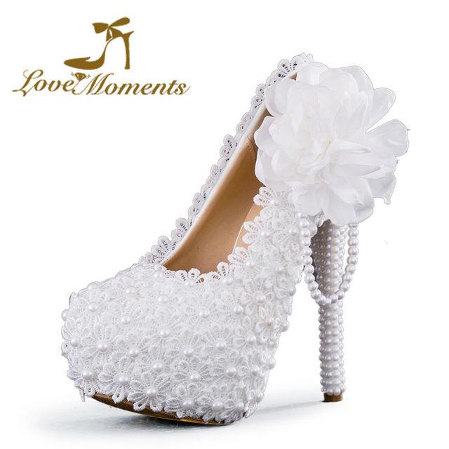 Love Moments sapatos femininos de salto Branca Flor Rendas Sapatos de Plataforma De Salto Alto sapatos de noiva  sapatos femininos de salto alto festa tenis feminino