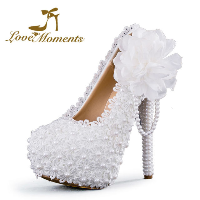 Love Moments shoes Woman White Flower Lace Platform High Heels Pearls Wedding  Shoes Bride Women Dress Shoes 2cm6cm 8cm 11cm 14cm f18af250caaf